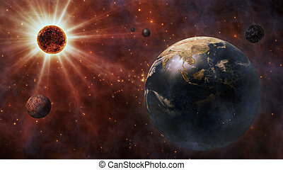 Planet Earth, The Sun, The Moon and Planets In Space