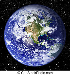 Planet Earth - The world seen from the western hemisphere ...