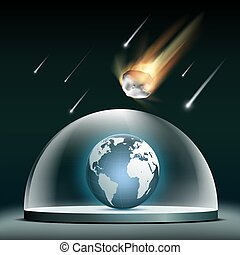 Planet earth under a glass dome. Protection from asteroids.