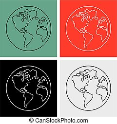 Planet Earth vector sign isolated on white background