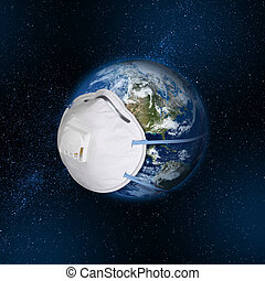 Planet Earth wearing protective filter breathing mask, virus contamination concept