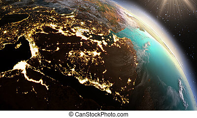 Planet Earth West Asia zone. Elements of this image furnished by NASA