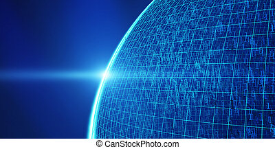 Planet earth with 01 binary data, Internet connection concept of global business, 3d illustration