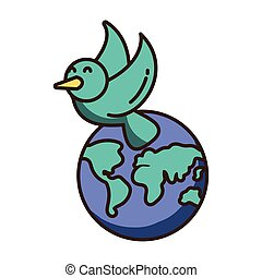 planet earth with a dove on white background