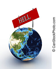 Planet earth with a sign hell on a white background