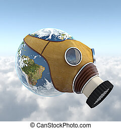 planet earth with anti gas mask - 3d render of the planet...