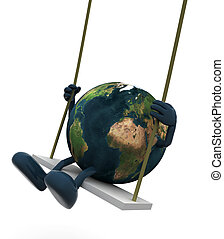 Planet earth with arms and legs on a swing