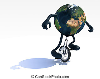 earth with arms and legs rides a unicycle