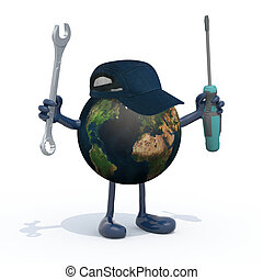 planet earth with arms, legs and tools on hands