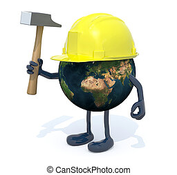 planet earth with arms, legs, work helmet and hammer on hand