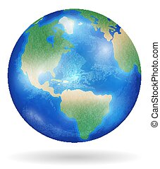 Planet Earth with blue ocean and clouds isolated on white background