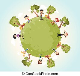 Planet earth with cartoon family. Nature background.