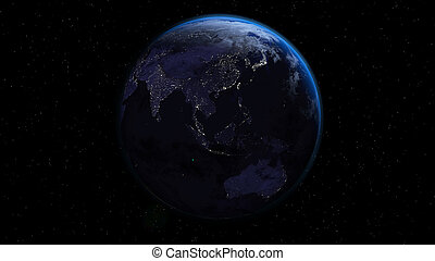 Planet Earth with city lights in space with stars.