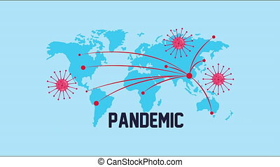 planet earth with covid19 particles and pandemic word