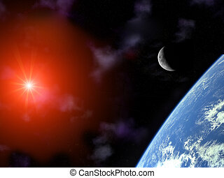 earth with crescent moon and sun over universe - planet ...