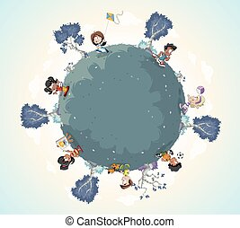 Planet earth with cute cartoon kids playing.