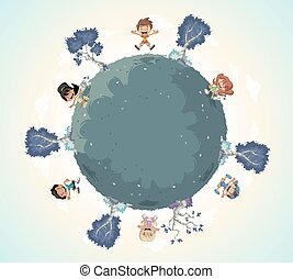 Planet earth with cute cartoon kids playing