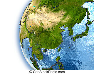 Planet Earth with embossed continents and country borders. Southeast Asia. Elements of this image furnished by NASA.