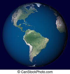 Planet Earth with highlight in America