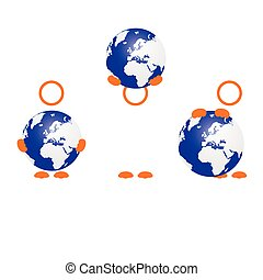planet earth with people icon vector