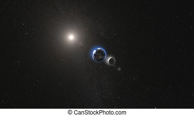 Planet Earth with satellite Moon rotating in space