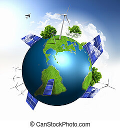 Planet earth with solar energy batteries
