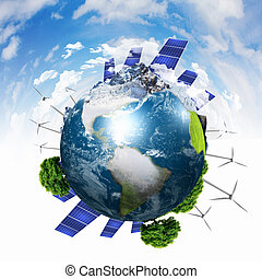 Planet earth with solar energy batteries - Green planet...