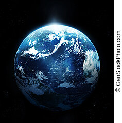 Planet earth with sun rising from space-original image from ...