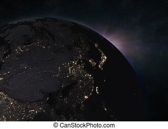 Planet Earth with sunrise in the space - Europe