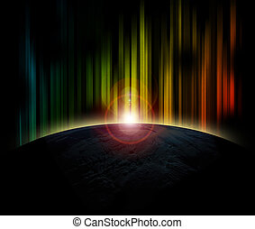 Planet earth with sunrise on colorful background