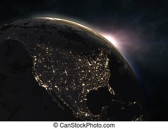 Planet Earth with sunset - North America