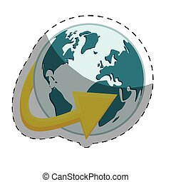 planet earth with surrounding arrow international icon image...