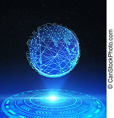 Planet earth with technological HUD and network connection lines, Internet concept of global business, 3d illustration.