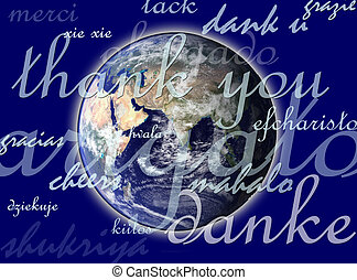 thank you - planet earth with thank you in different...