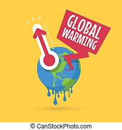 Planet earth with thermometer, Global warming concept.
