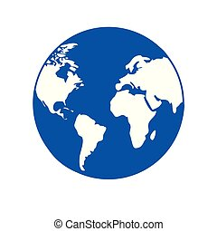 planet earth world icon blue globe with white continents...