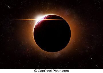 Planet Eclipse Space Background - imaginary deep space...