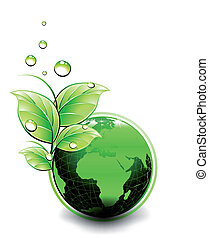 Green globe with leaves america. Planet Ecology icon. Vector illustration