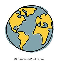 planet erde, cartoon., (, kredit, :, nasa)