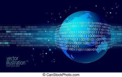 planet erde, global, daten, tauschen, binärer, code., sicherheit, zahlung, persönlich, informationen, cyber, angriff, blaues, glühen, geschäftskonzept, weltkarte, asia, europa, australia, indien, porzellan, japan, vektor, abbildung