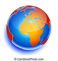 planet erde, global, ikone, welt