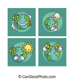 planet erde, kawaii, karten, satz, lächeln