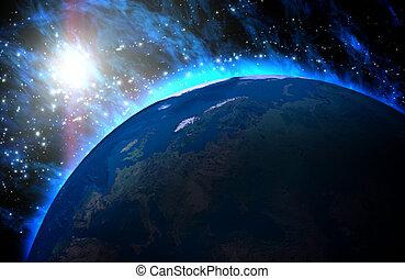 planet erde, mit, sonnenaufgang, in, der, universe.