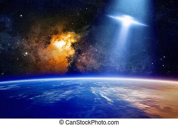 planet erde, nähert, ufo