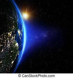 planet erde, sonnenaufgang, raum