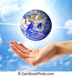 planet erde, und, menschliche hand