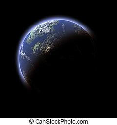 planet, erde-wie, schwarzer hintergrund