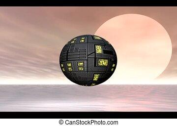 Planet Explorers - Rotating space ship exploring water...