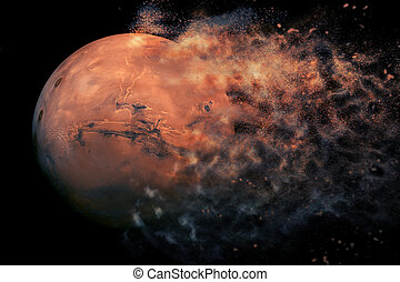 Planet Explosion - Mars. Elements of this image furnished by NASA