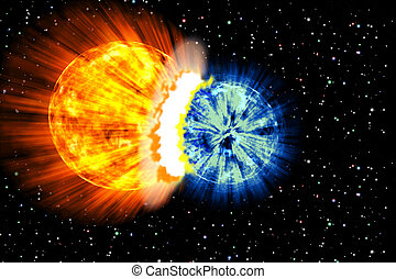 Planet explosion - background abstract globe star nature sun...